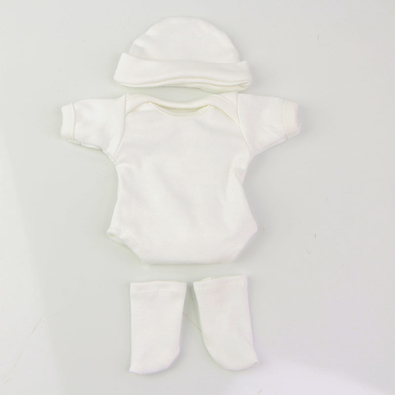 Mini Doll Clothes Cute White Cotton Hat & Shirt & Sock 3 pcs Cloth Sets Fit For 11&39;&39; Reborn Baby Doll Girl and Boy Accessories