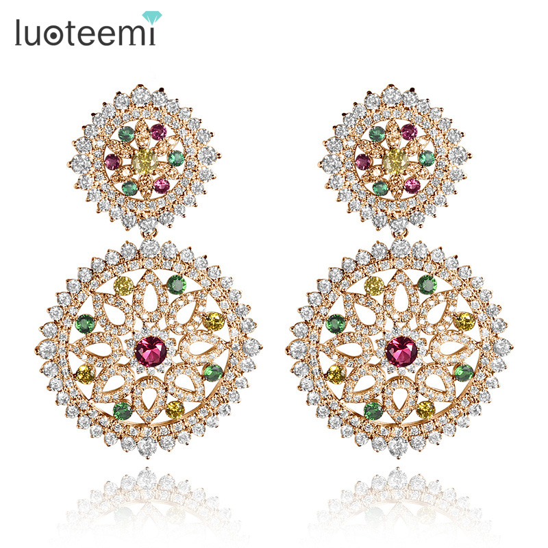 LUOTEEMI Brand Vintage Brincos White/Champagne Gold-Color 2pcs Round Clear And Multi Zirconia Drop Earrings for Women Party
