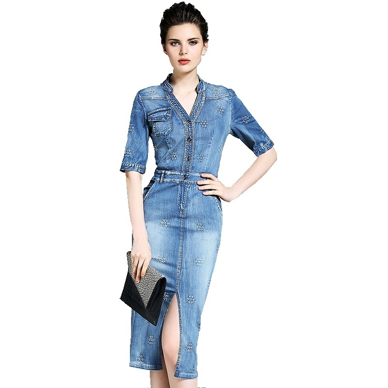2018 Spring and Autumn v-neck short sleeve denim dress holes vent denim longuette women&39;s fashion denim dress NW16B6216