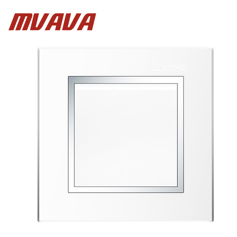 MVAVA Hot Sale Decorative White Chromed Frame Panel 16A 250V Electrical Light Wall Switch 1 Gang 1 Way Push Button Switch
