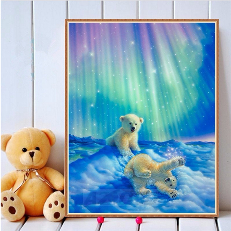 New Arrival Oil Canvas Diamond Embroidery Cute Animal Pattern Northern Lights Bear Needlework Cross Stitch Diamond Painting